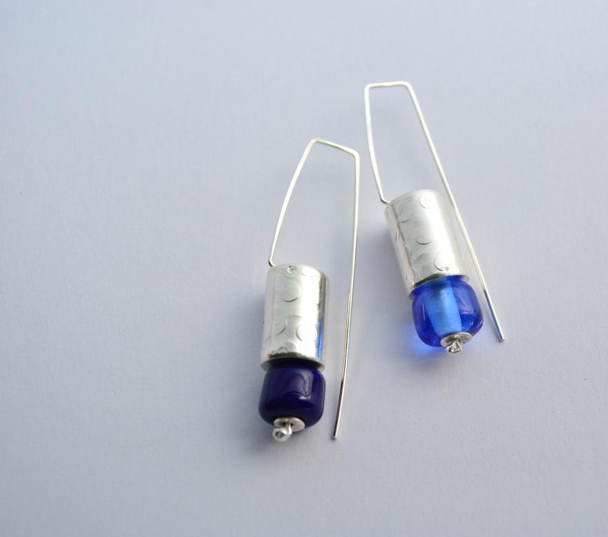 13 aros azules-plata 950-cuentas vidrio murano - 1