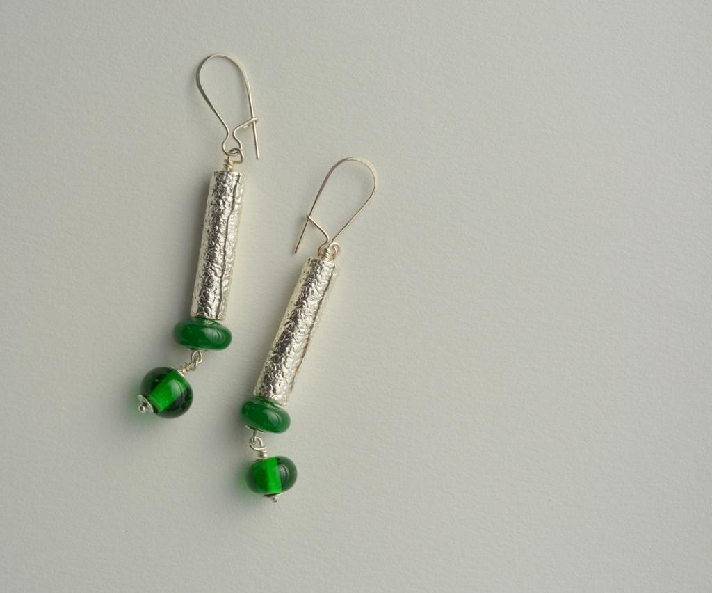 20 aros texturas verdes - plata 950 texturada - cuentas de vidrio murano - 1
