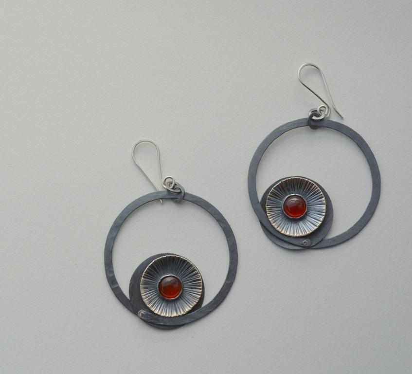 aros agatas rojas- plata 950 oxidada - agatas rojas - cobre oxidado