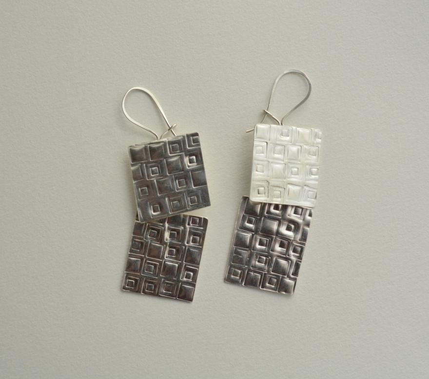22 aros texturas cuadradas - plata 950 - 1