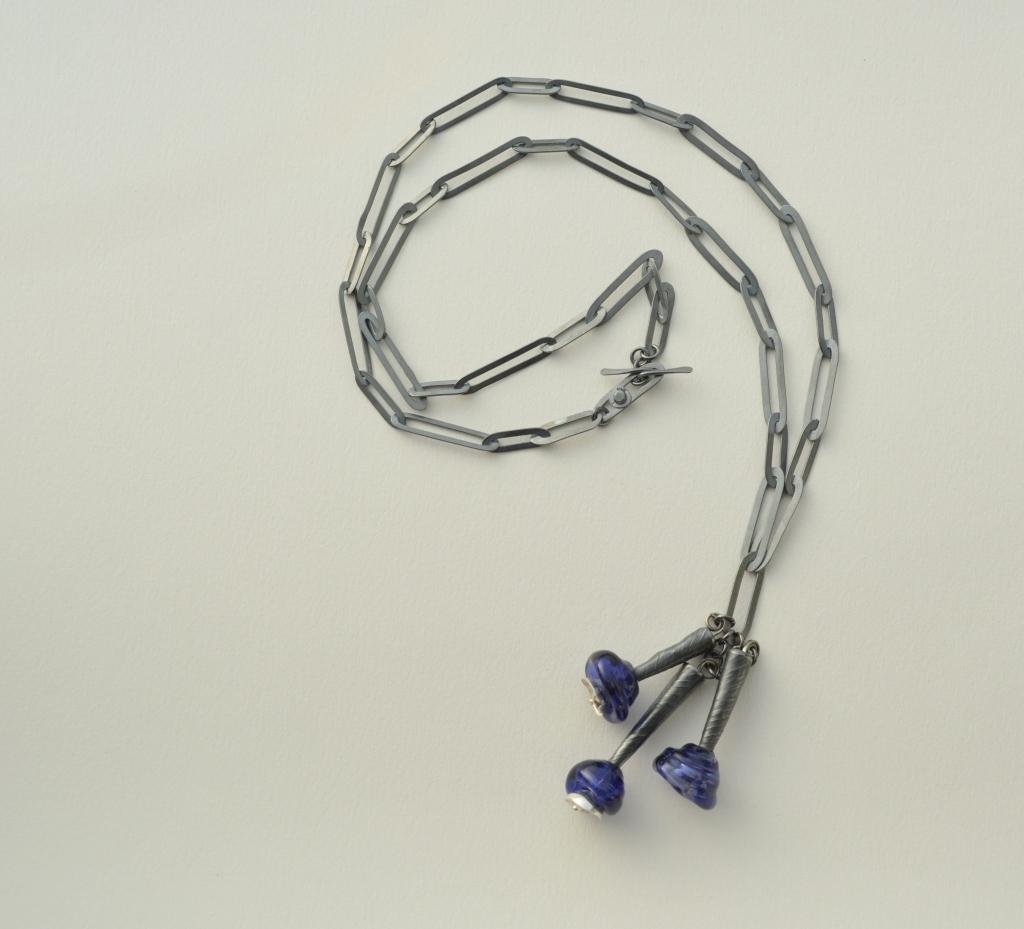 collar copitas azules - plata 950 oxidada - cuentas vidrio murano
