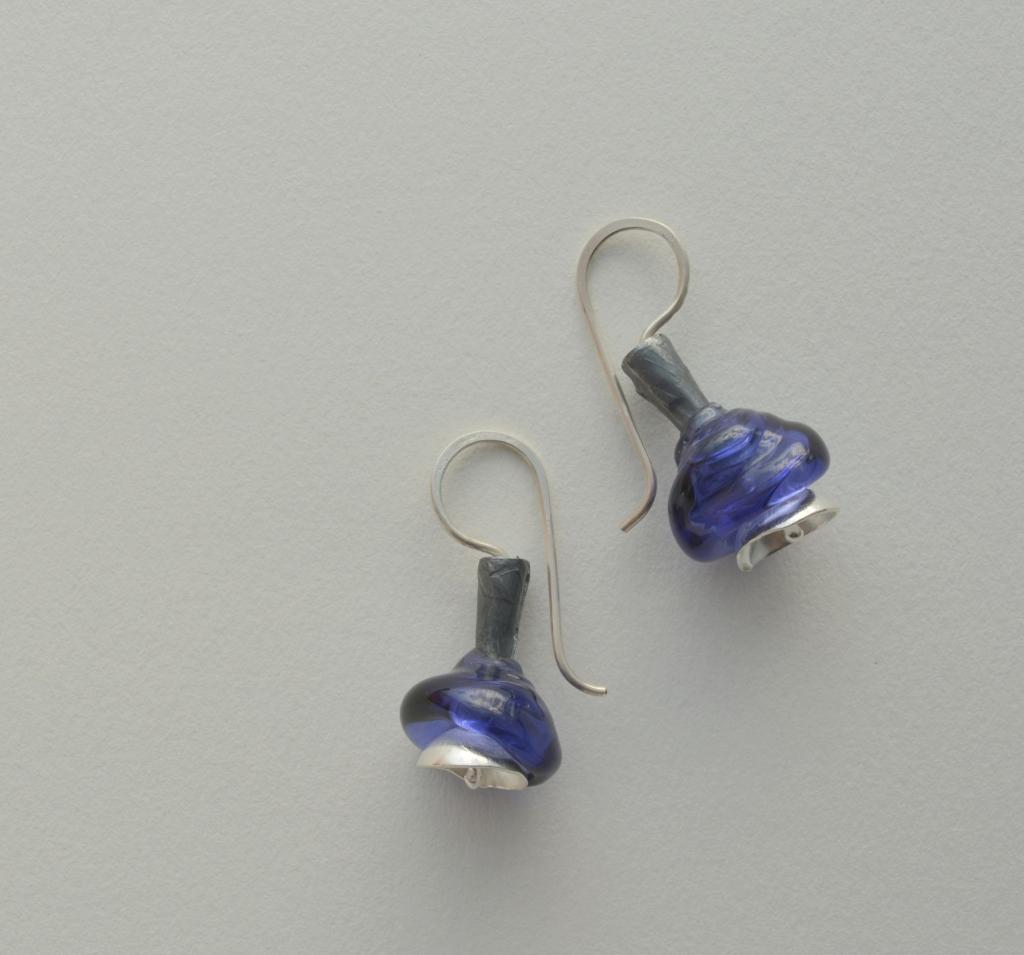 aros copitas azules-plata 950-cuentas vidrio murano