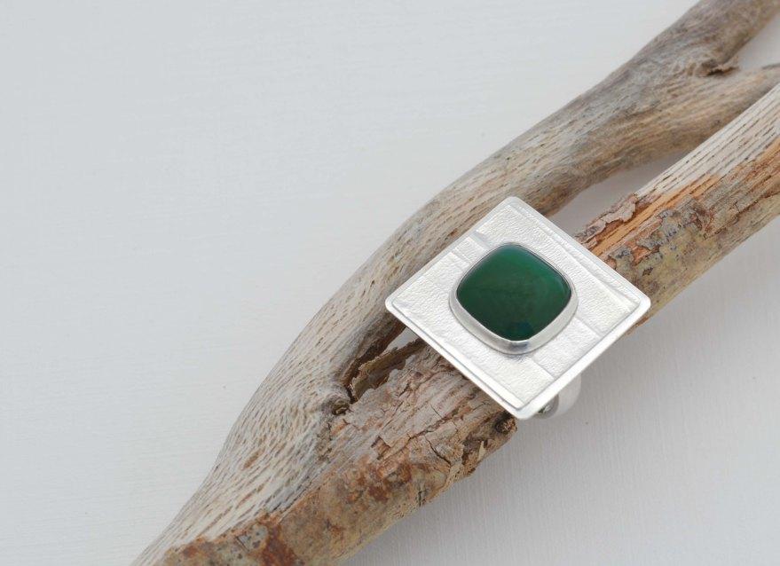 28 anillo tranquilo - plata 950 - agata verde 2